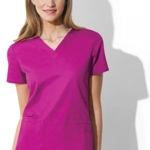 Brand: Cherokee Workwear Collection:WW Flex with Certainty Gender: Women's Neckline: V-NeckSleeve: Short Sleeve Body Type: 2 Pocket Pockets: Patch Pockets