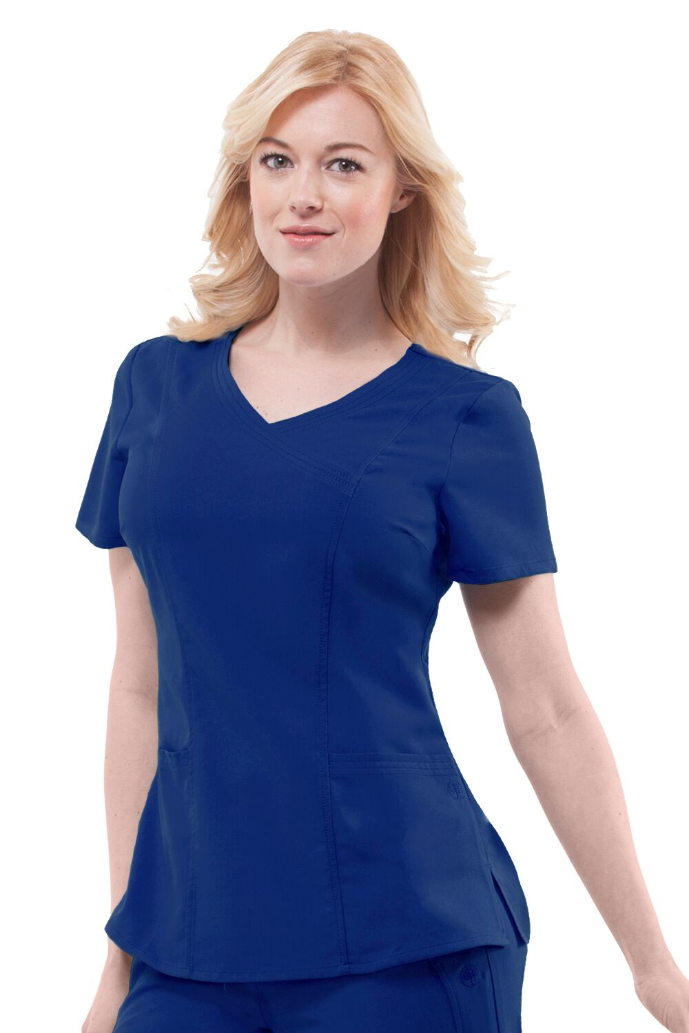 Mock crossover w/ triple needle stitching Seaming for superior fit 2 Patch pockets Sizes: XS-3X